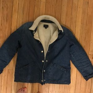 J. Crew denim shearling lined coat (women's) sizeS